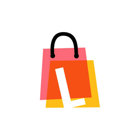 l letter shop store shopping bag overlapping color logo vector icon illustration
