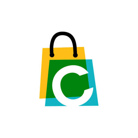 c letter shop store shopping bag overlapping color logo vector icon illustration
