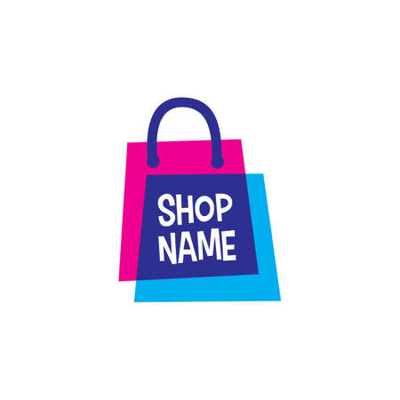 shop store shopping bag overlapping color logo vector icon illustration