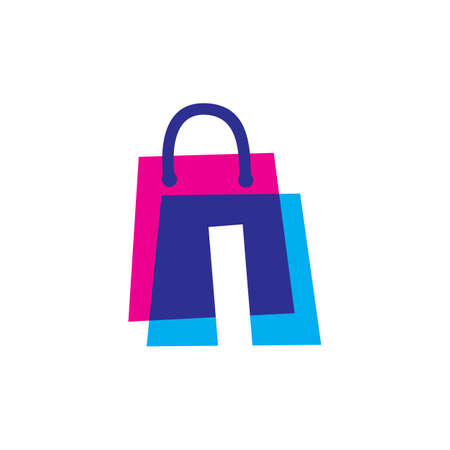 i letter shop store shopping bag overlapping color logo vector icon illustration
