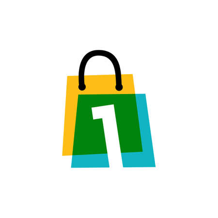 number one 1 shop store shopping bag overlapping color logo vector icon illustration