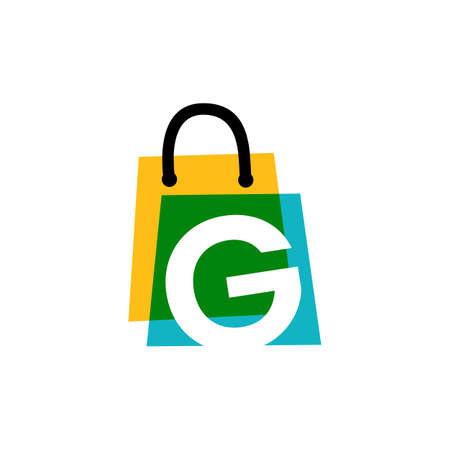 g letter shop store shopping bag overlapping color logo vector icon illustration