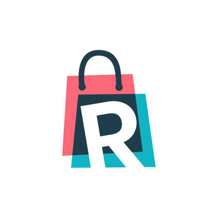 r letter shop store shopping bag overlapping color logo vector icon illustration