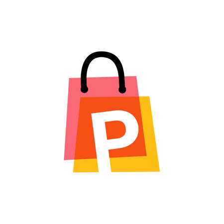 p letter shop store shopping bag overlapping color logo vector icon illustration 向量圖像