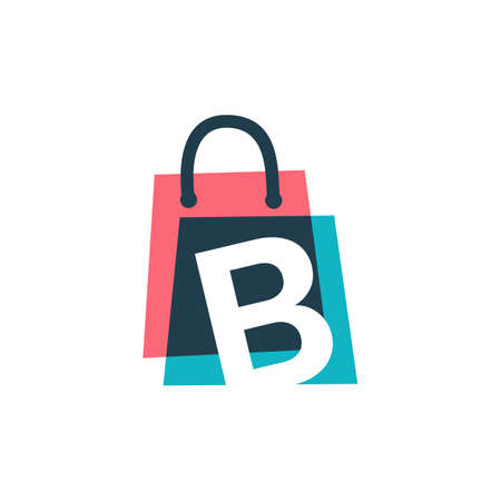 b letter shop store shopping bag overlapping color logo vector icon illustration