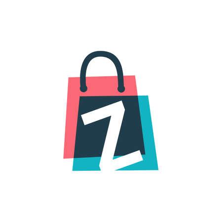 z letter shop store shopping bag overlapping color logo vector icon illustration