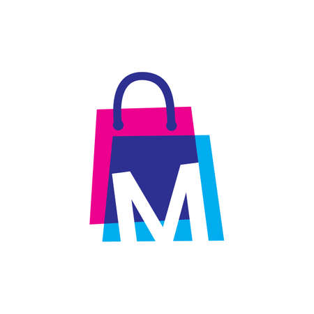 m letter shop store shopping bag overlapping color logo vector icon illustration