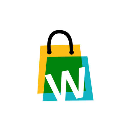 w letter shop store shopping bag overlapping color logo vector icon illustration 向量圖像