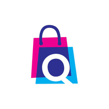 q letter shop store shopping bag overlapping color logo vector icon illustration 向量圖像