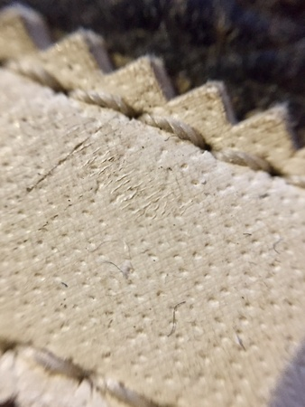 stitch: Close up of leather stitching in a shoe