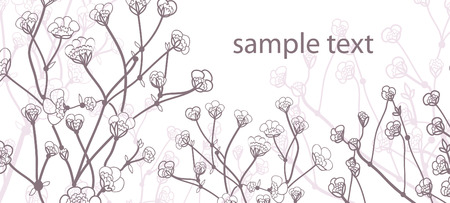 Beautiful card with branch and flowers with place for text Stock Vector - 6208251