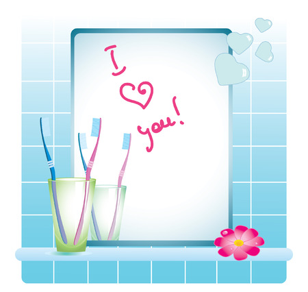 bathroom mirror, toothbrushes and flower Vector