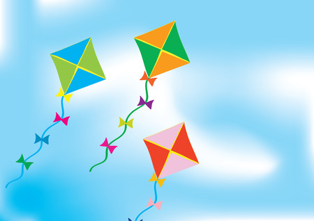 Abstract background with three colourful kites
