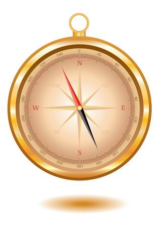 Classical gold compass. Vector illustratin Illustration