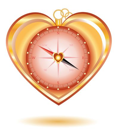 Love gold compass in a shape of heart. Vector illustration