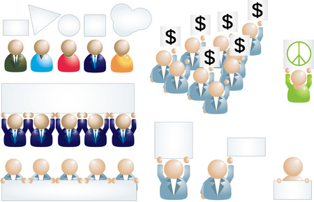 Set of different business people icons with banner Stock Vector - 6324564
