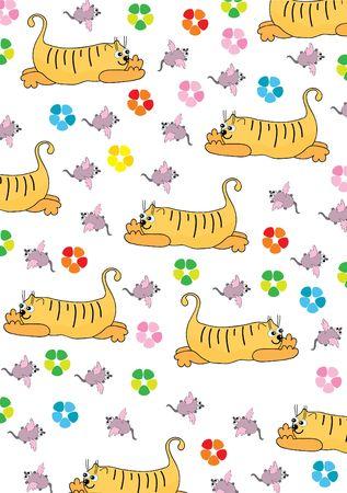 interested: Orange cat hunts on a pink mouse. Vector illustration