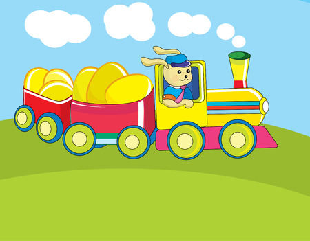 working animals: Easter card with a rabbit driving a train delivering eggs