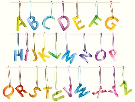 Сute 3d alphabet (caps) on the strings over white Stock Vector - 9155789