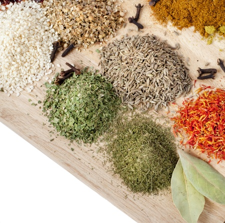 Different spices on wooden desk Stock Photo - 11174150