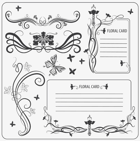 Vector set: calligraphic decoration elements with butterfly Stock Photo - 11174143