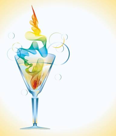 Color cocktail with abstract wave photo