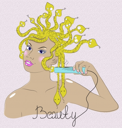 medusa: Beautiful Medusa Gorgon making hairdress, fashion illustration