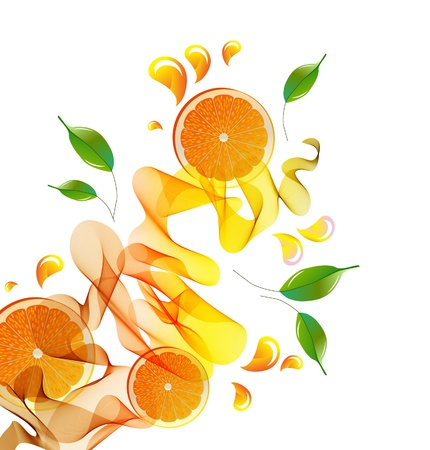 Orange juice splash with abstract wave and leaves photo