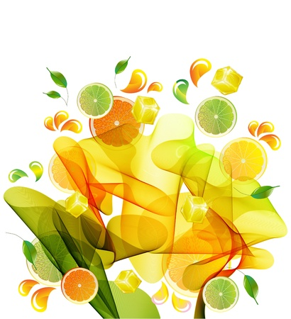 Orange and lime juice splash with abstract wave photo
