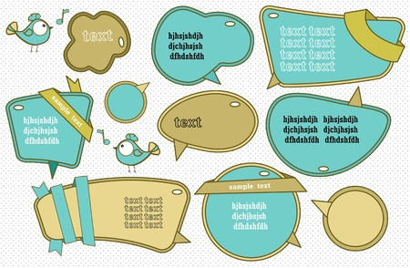Speech bubbles set with cute bird