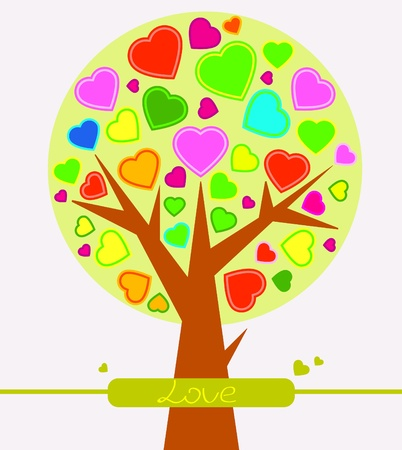 Cute abstract Valentine heart tree Vector
