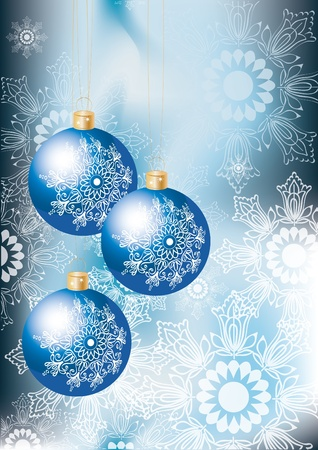 Elegant Christmas background with blue decoration balls and snowflakes Vector