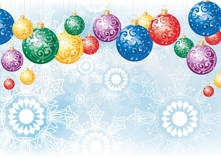 Christmas background with colorful decoration balls and snowflakes Vector