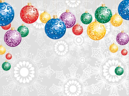 Elegant Christmas background with colorful decoration balls and snowflakes Vector