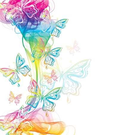 Colorful abstract background with butterfly and wave Vector