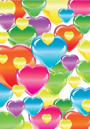 Valentine'sl background with bright colorful hearts over white Stock Vector - 11658239