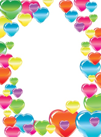 picture postcards: Valentinesl background with colorful hearts over white Illustration