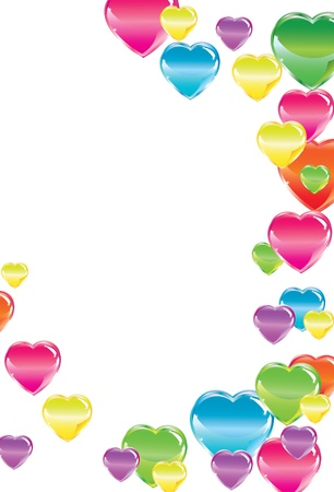 Beautiful background with colorful hearts over white Stock Vector - 11658277