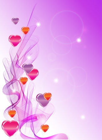 Valentines background with hearts and waves Vector