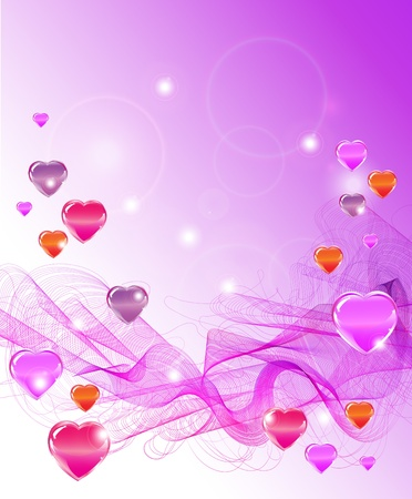 Beautiful Valentine's background with hearts and waves Stock Vector - 11658255