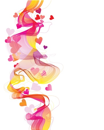 Colorful abstract background with hearts and wave Stock Vector - 11658245