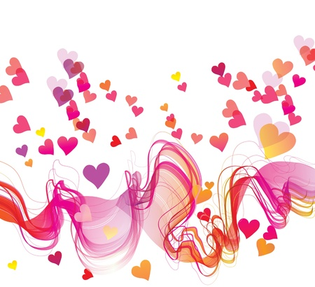 Abstract background with hearts and waves Stock Vector - 11658246