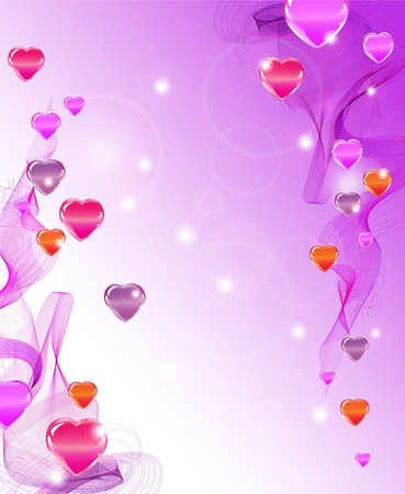 Beautiful abstract background with hearts and waves Stock Vector - 11658244