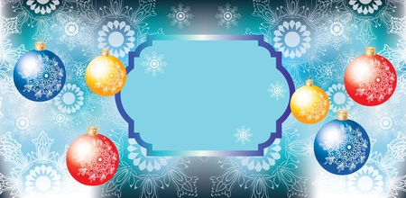 Elegant Christmas background with colorful decoration balls and card for text Vector
