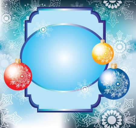 Christmas background with colorful decoration balls and card for text Vector