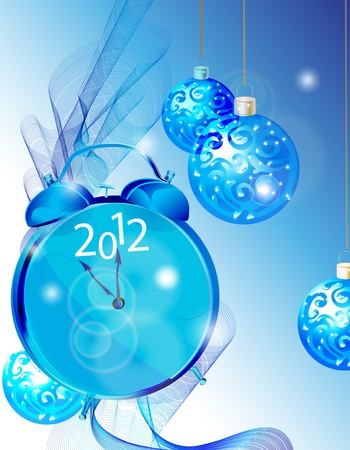 Bright elegant New Year background with clock and blue tender decorations Stock Vector - 11657439