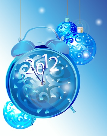 Bright elegant New Year background with clock and blue decorations  Vector