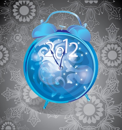 Elegant New Year background with clock over dark background Vector