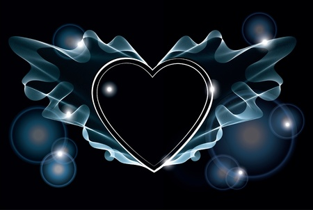 smoke effect: Background with bright abstract heart over dark
