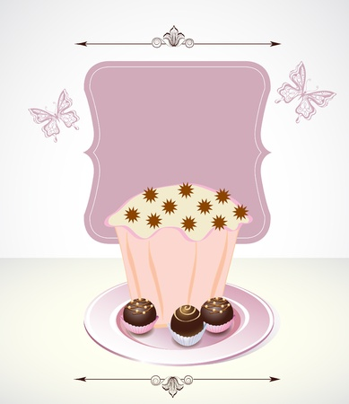 Card with cupcake and chocolate Vector